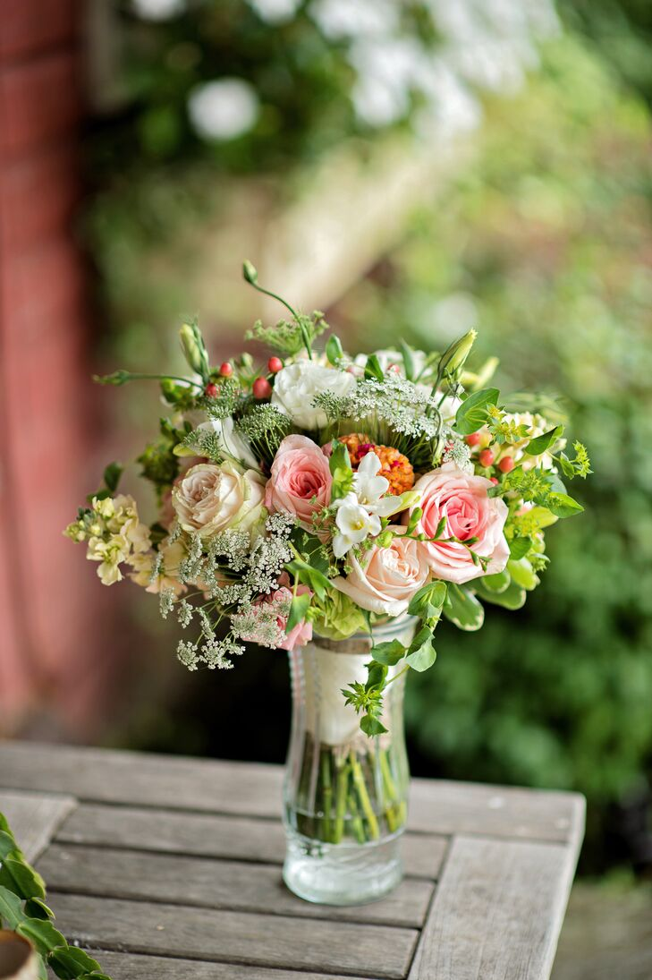 The Blush, Peach, and Green Garden Rose Bouquet at Greenhill Farm