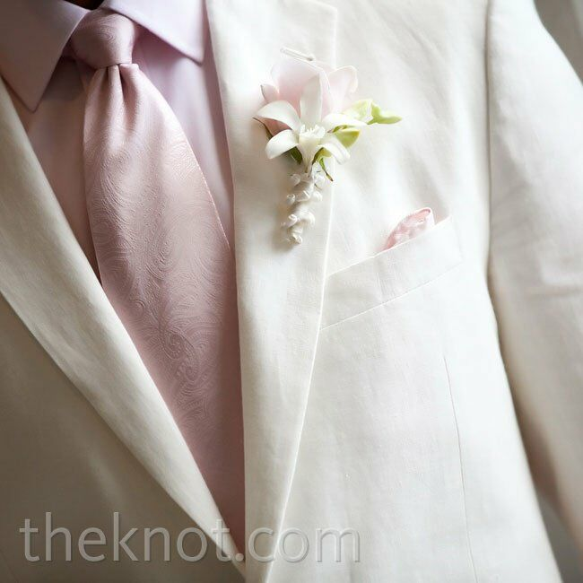 White and Pink Boutonniere