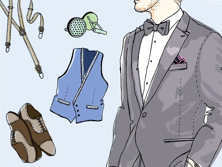 illustrated groomswear accessories and tuxedo