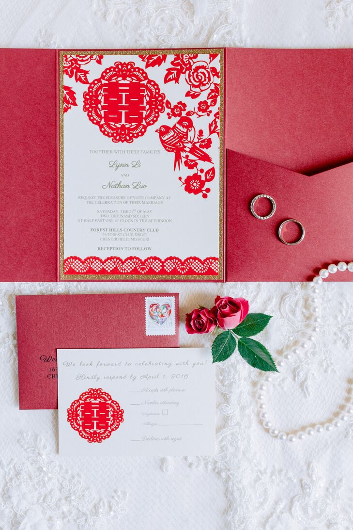Red Double Happiness Wedding Invitations