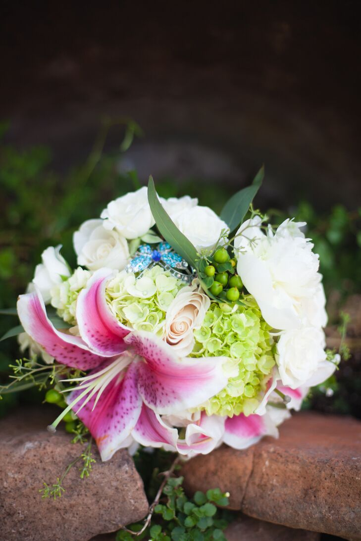 Bright Pink Stargazer Lily And Green Bridal Bouquet