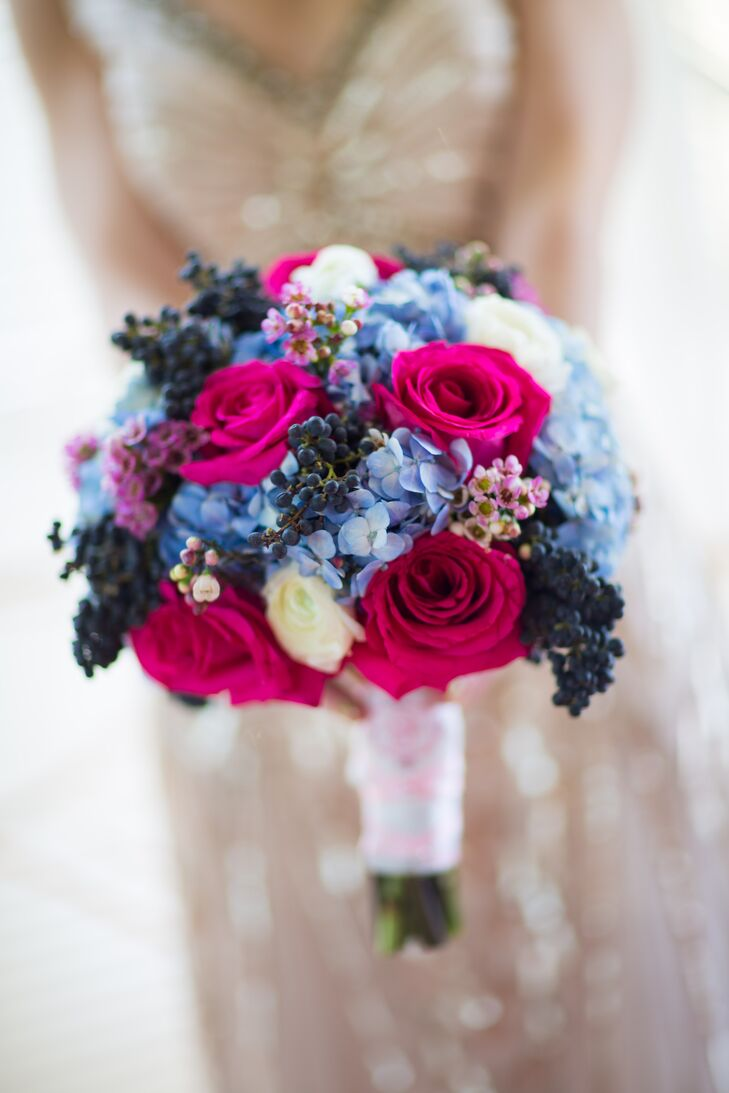 Bright Blue and Pink Bridal Bouquet