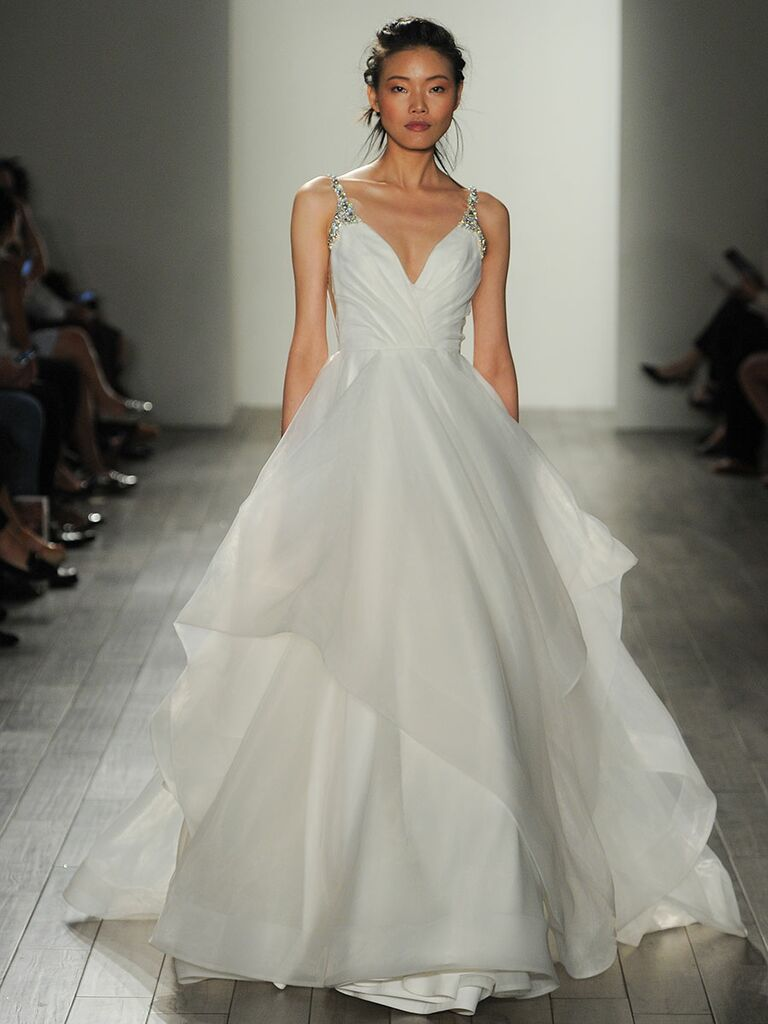 Hayley paige fall 2017 collection bridal fashion week photos hayley paige fall 2017 sparkling straps v neck ball gown wedding dress ombrellifo Gallery