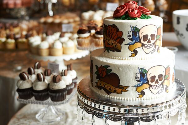 Two-Tier Round Tattoo Cake