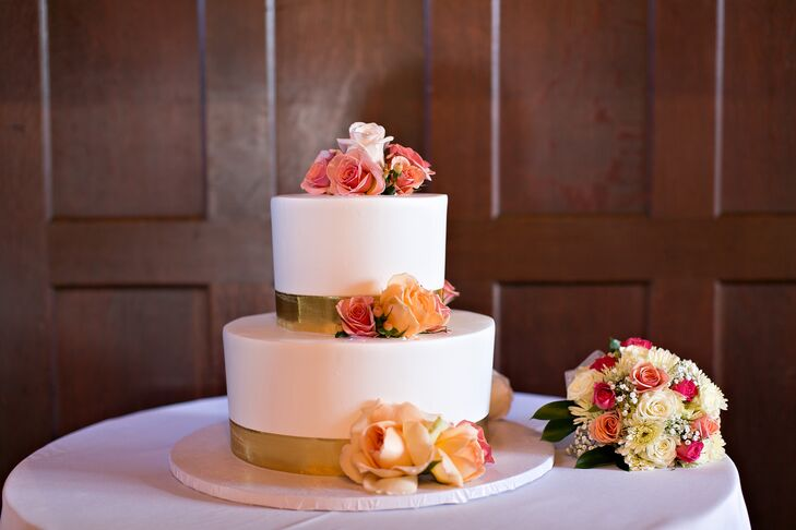 Two-Tier Cake with Gold Accents
