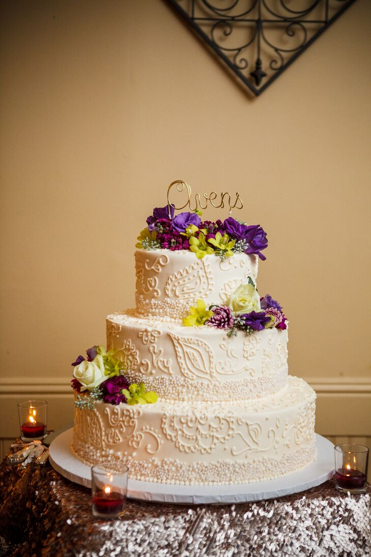 Ivory Wedding Cake Purple Cake Flowers