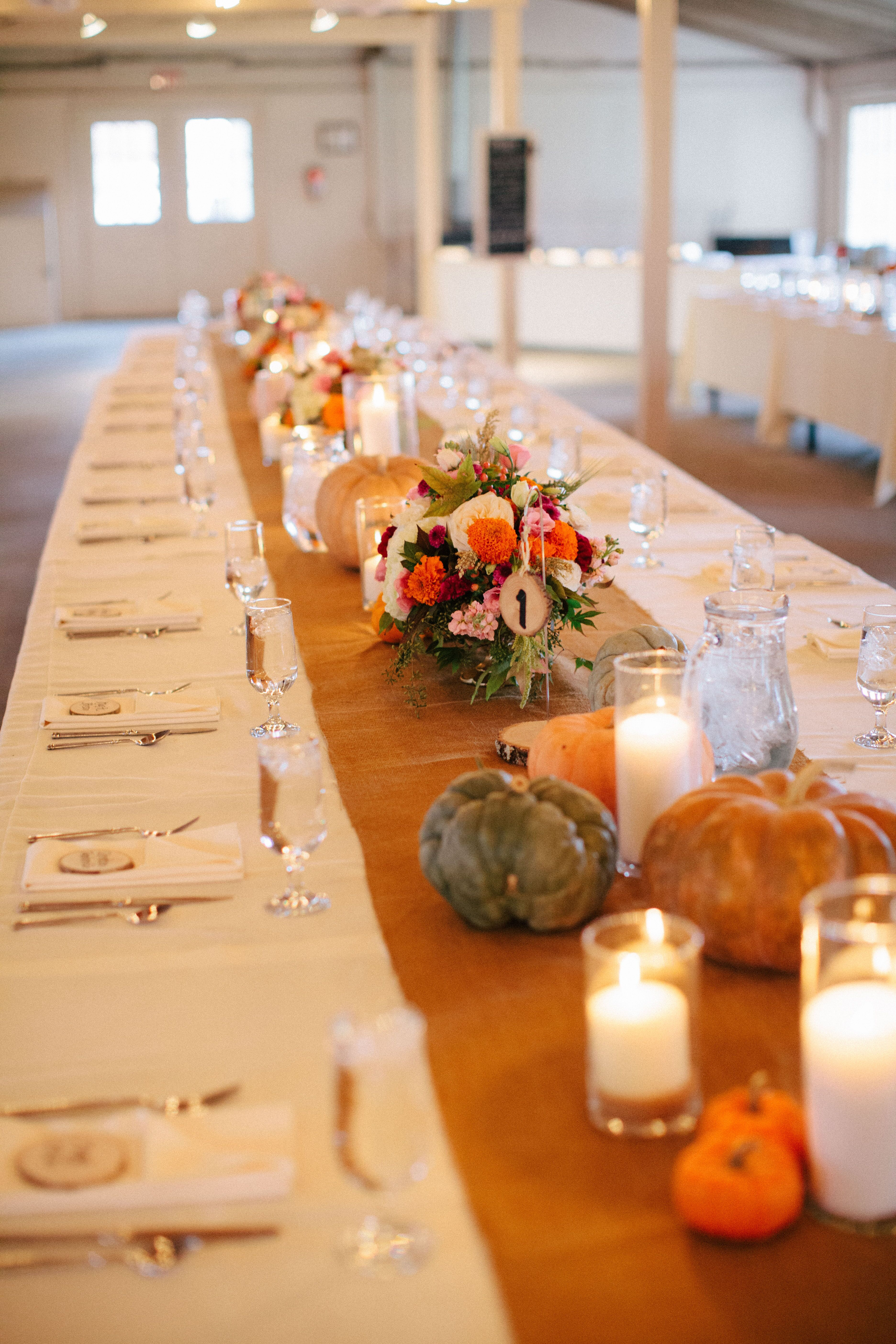 Burlap Table Runners With Pumpkins And Candles