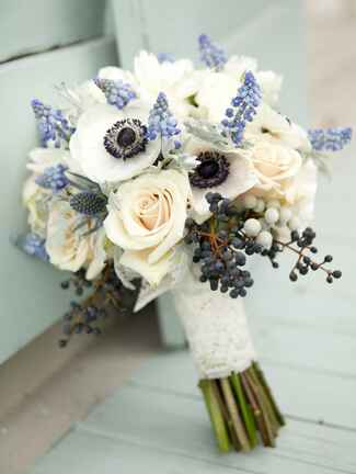 White and light blue wedding bouquet