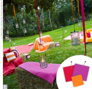 Purple, hot pink and orange wedding accents