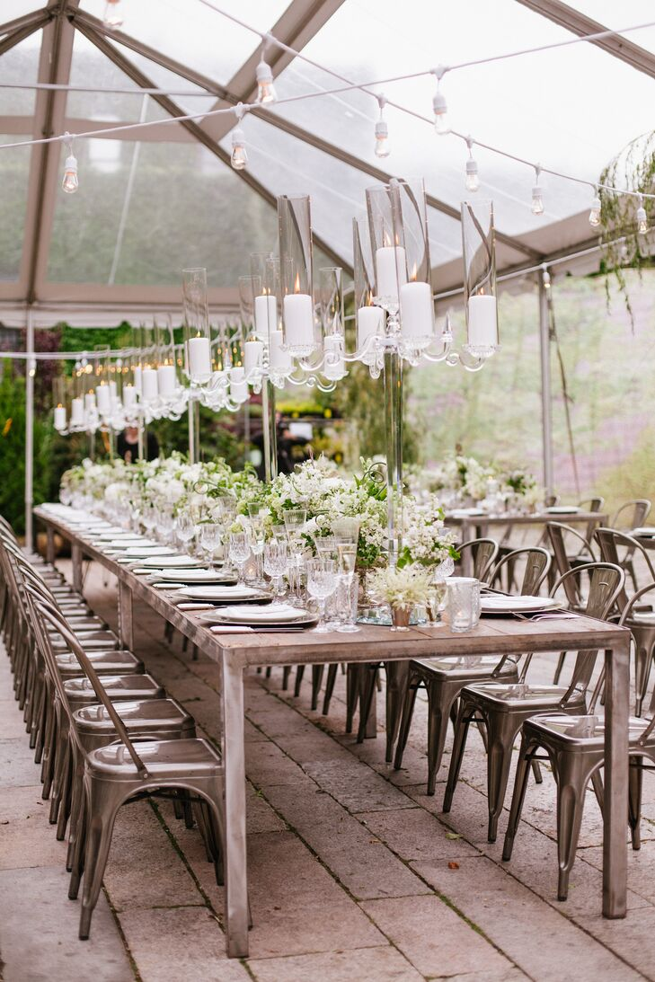 """I wanted the whole venue to look like an overgrown rose garden, with hanging wisteria and vines everywhere—really loose and effortless, but soft and romantic,"" says Sasha."