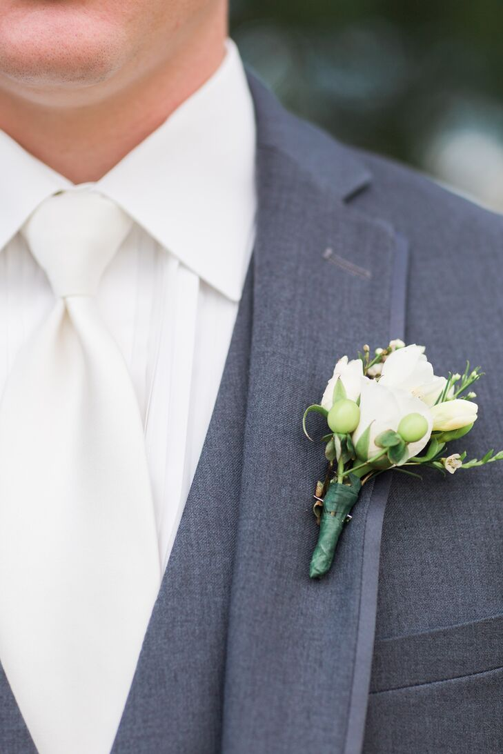 Groom S White Rose And Freesia Boutonniere