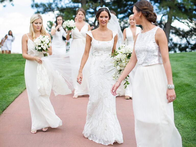 White Joanna August dresses from Bella Bridesmaids