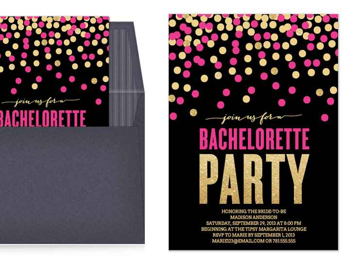 Digital gold and pink confetti bachelorette invitations