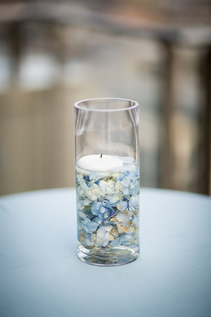Blue hydrangea centerpiece with candle