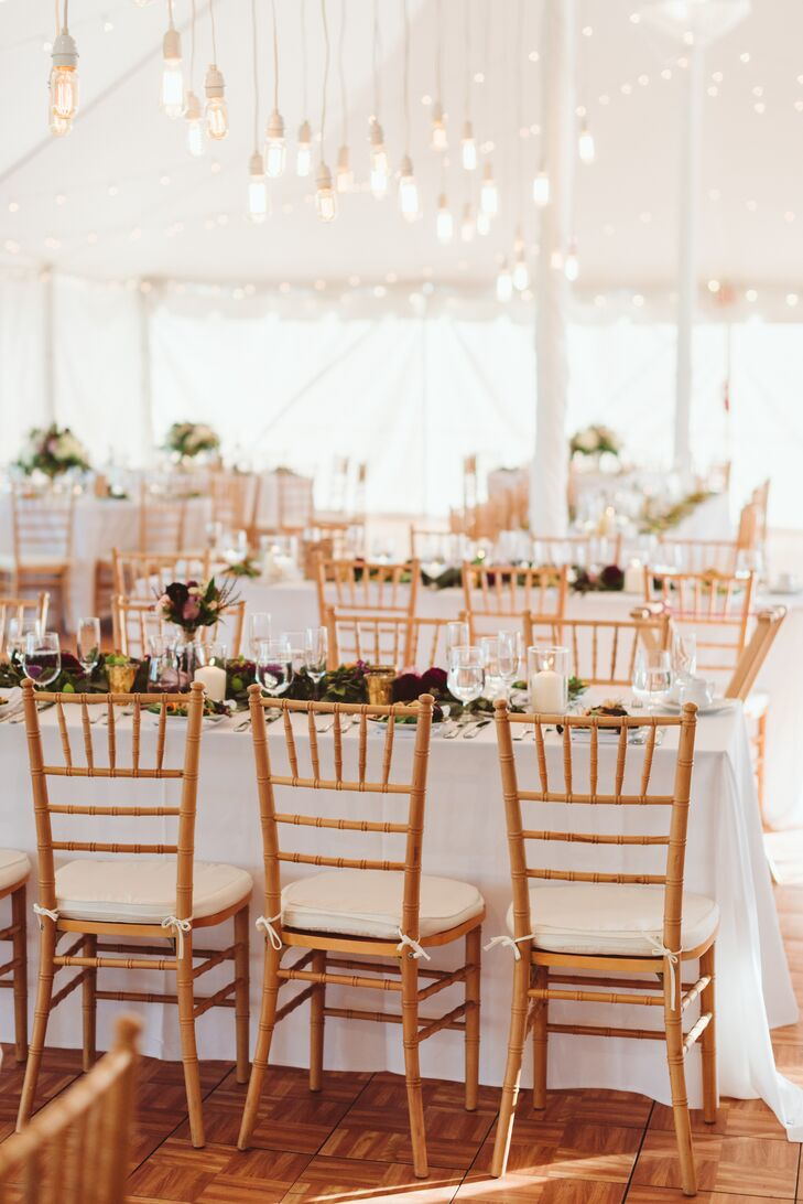 Tented Reception with Edison Bulb Installation