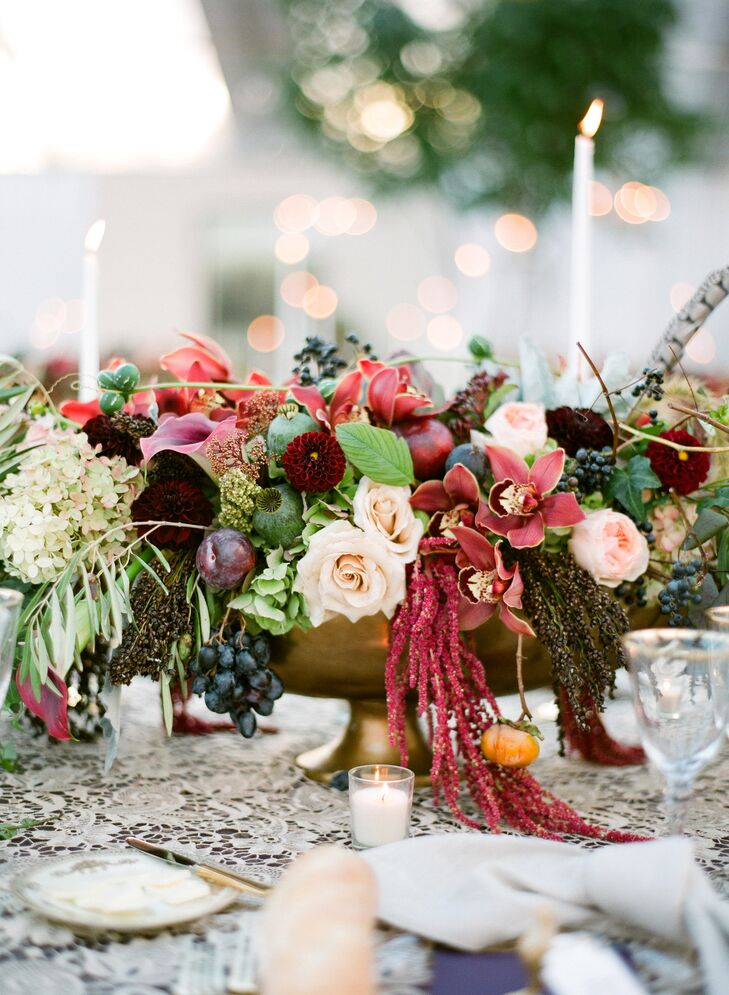 Fall themed centerpiece with roses and amaranthus