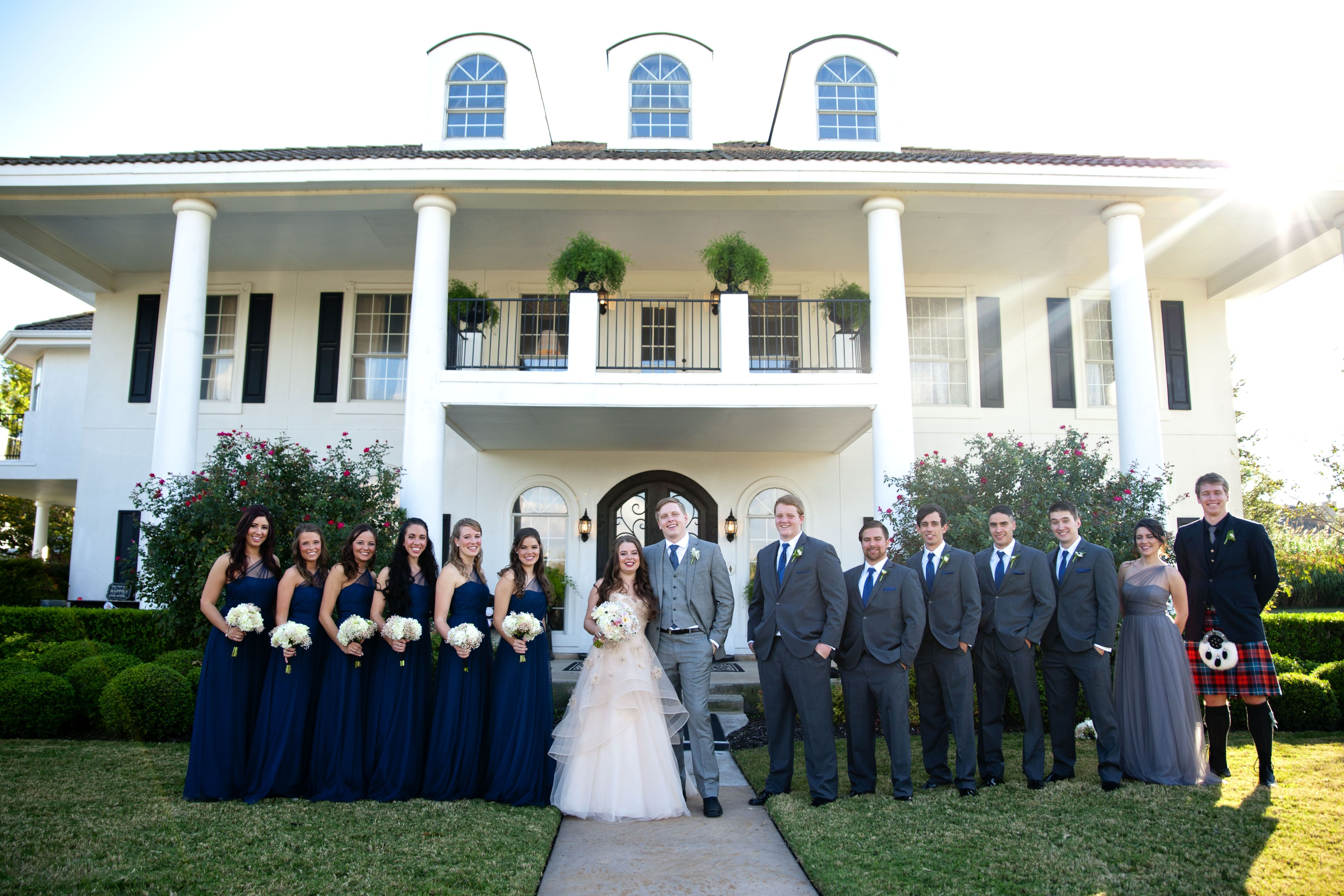 Navy and Gray Wedding Party at The Plantation House