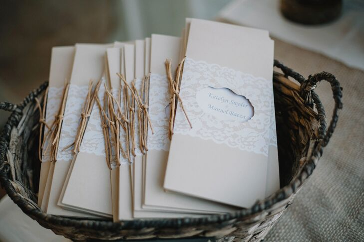 Kraft Paper Wedding Programs With Lace