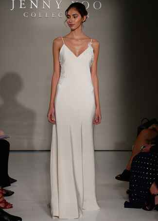 Jenny Yoo Fall 2016 sheath wedding dress with V neckline and delicate spaghetti straps and lace details on side and strap