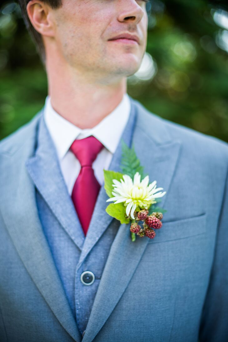 White Aster and Blackberry Boutonniere