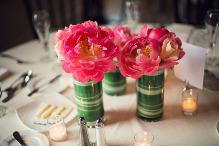 Modern pink peony centerpieces
