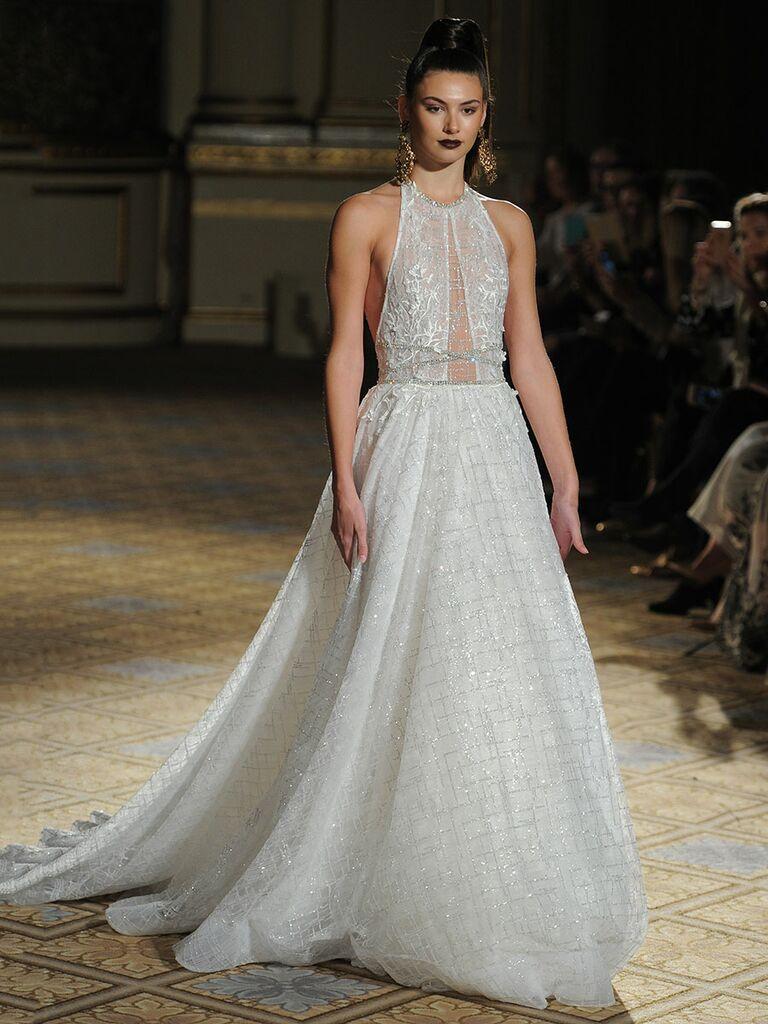 Berta Spring/Summer 2018embellished High Neckline Collar Wedding Dress With  Long Train