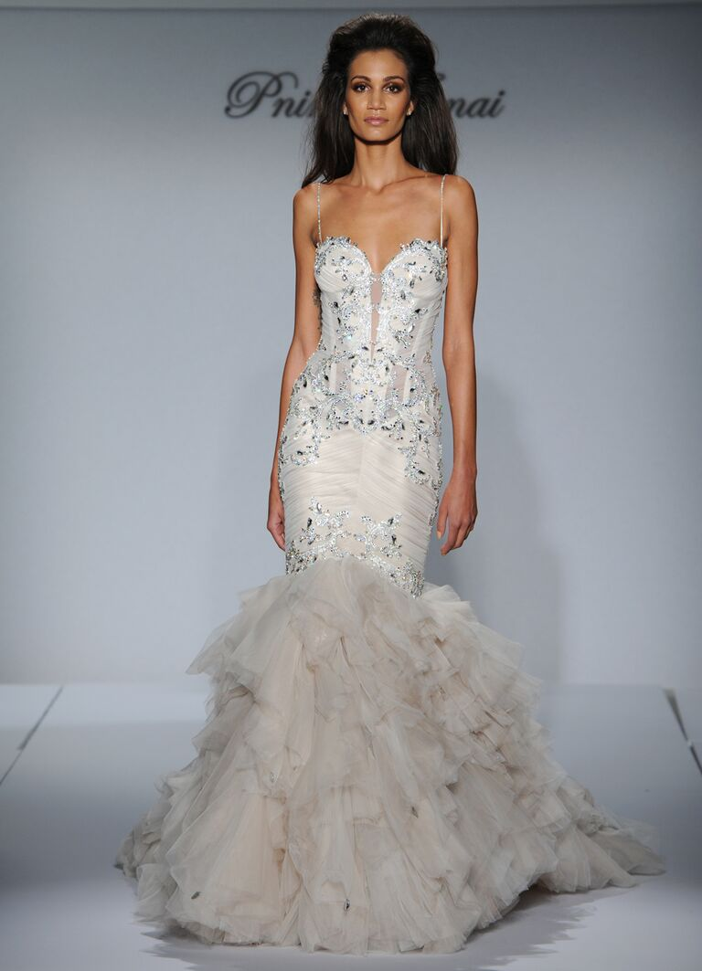 Pnina tornai fall 2016 collection wedding dress photos pnina tornai sexy beaded mermaid wedding dress with ruffled skirt from fall 2016 ombrellifo Images