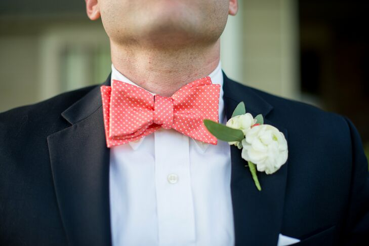 For a splash of color, Nathan wore a coral bow tie with white polka dots from Macy's. This was contrasted with a simple gardenia boutonniere.