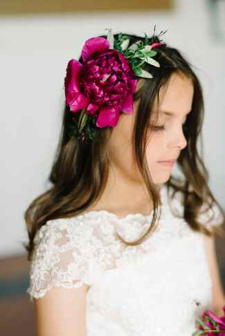 Large fuchsia peony flower crown