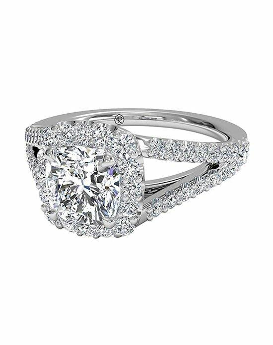 Ritani Cushion Cut Halo Diamond 'V' Band Engagement Ring in Platinum (0.50 CTW) Engagement Ring photo