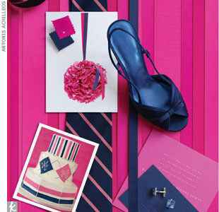 Fuchsia and navy wedding details