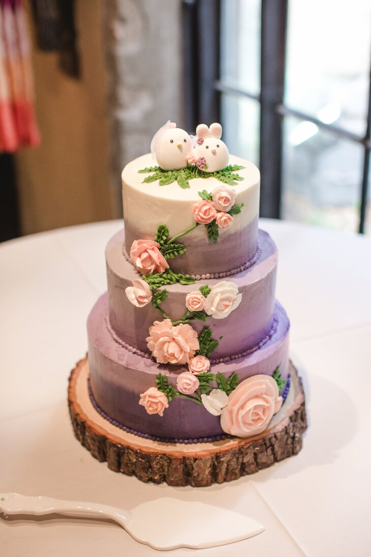 Three-Tier White and Purple Ombre Wedding Cake