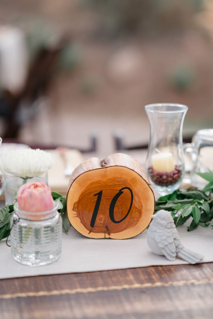 Rustic Wood Slice Table Numbers