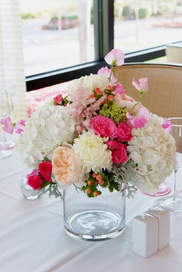 Low pink and white mixed flower centerpiece