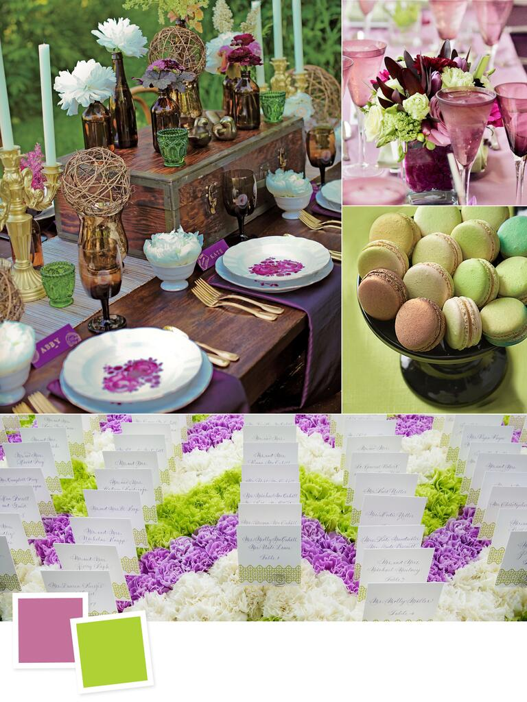 Amethyst and acid green wedding colors