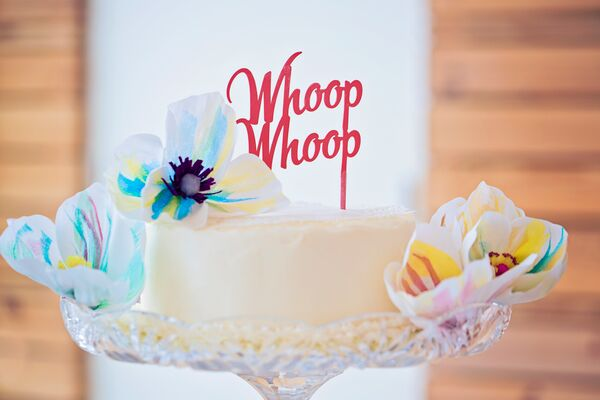 Playful Script Cake Topper and Fondant Flowers