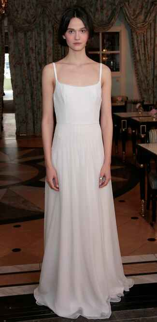 Delphine Manivet Spring 2017 slip column wedding dress with natural waist and spaghetti straps