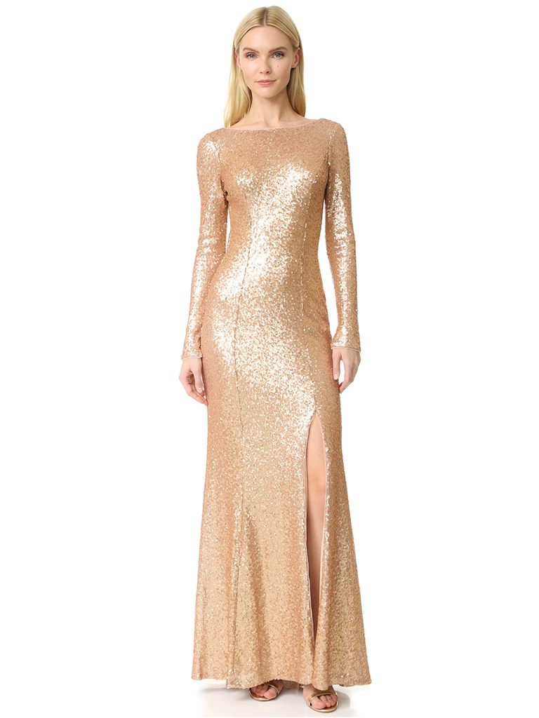 If You Have Any Holiday Themed Cocktail Affair Or Winter Wedding Coming Up Youd Be Remiss Not To Wear A Floor Length Golden Gown With Thigh High Slit