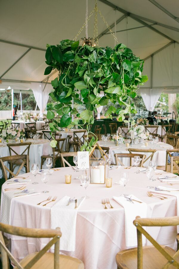 Hanging Leafy Green Wedding Reception Centerpieces