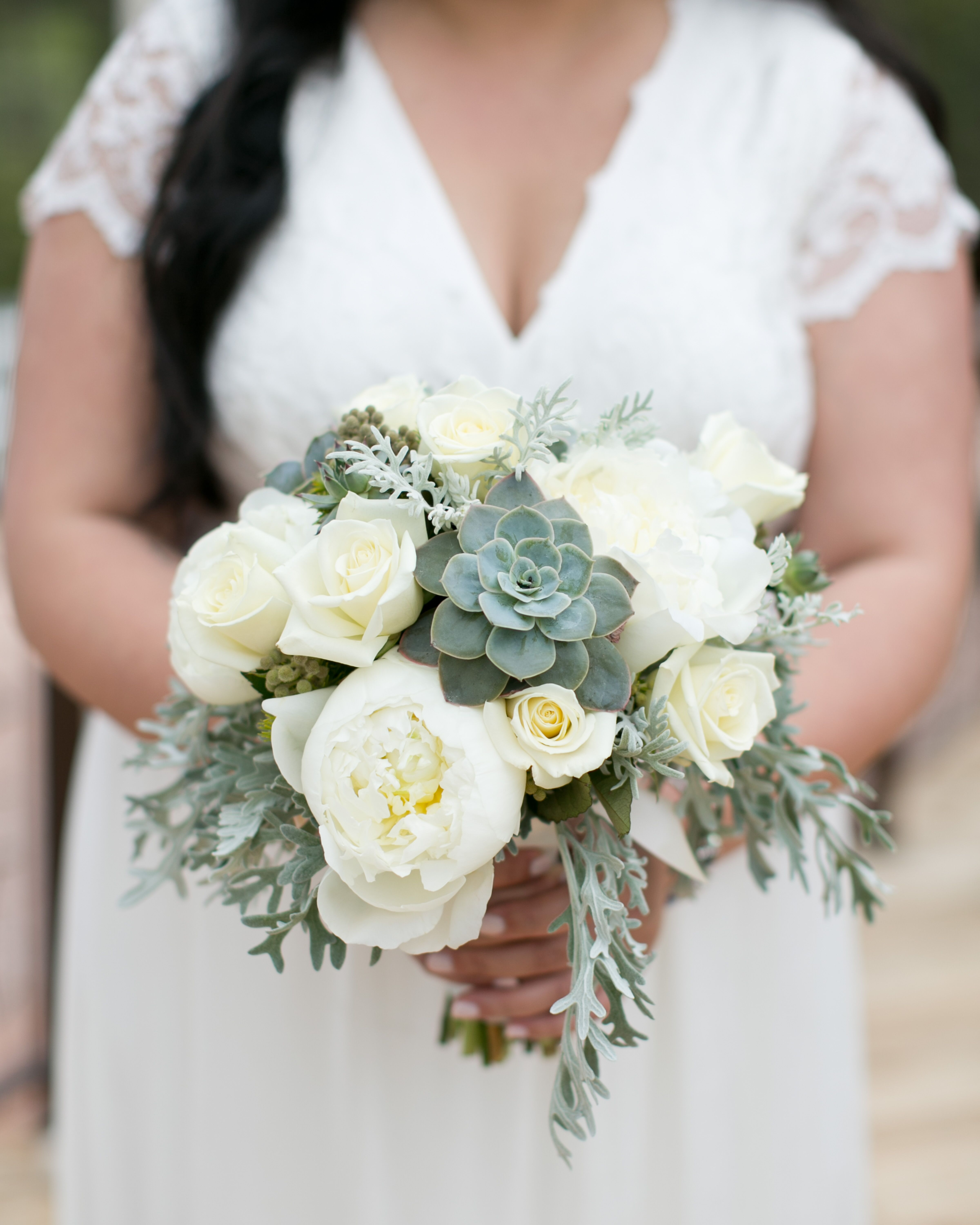 White Rose Peonies And Succulent Bouquet
