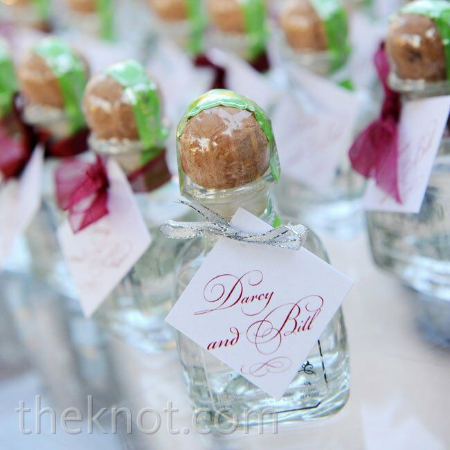Tequila Wedding Favors Favorite Guests Took Home Mini Bottles And Champagne Splits With Personalized Labels Tied Berry Ribbons