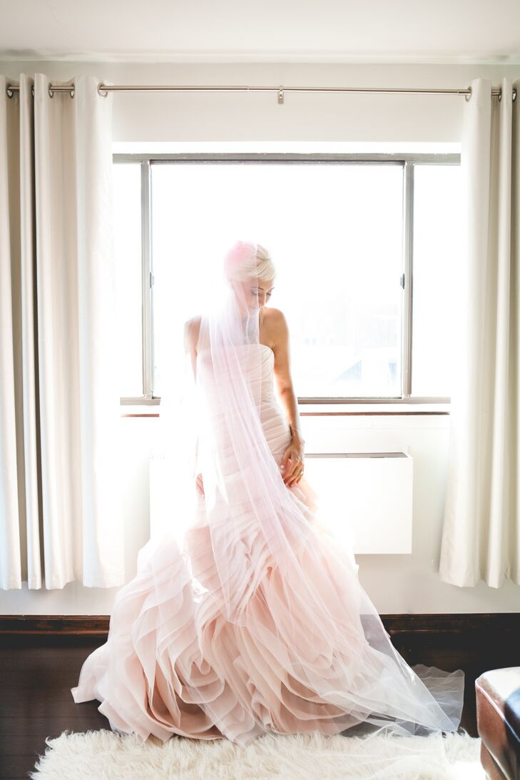 Bride In Blush Vera Wang Wedding Dress