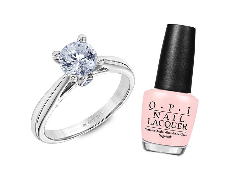 Nail polish color engagement ring