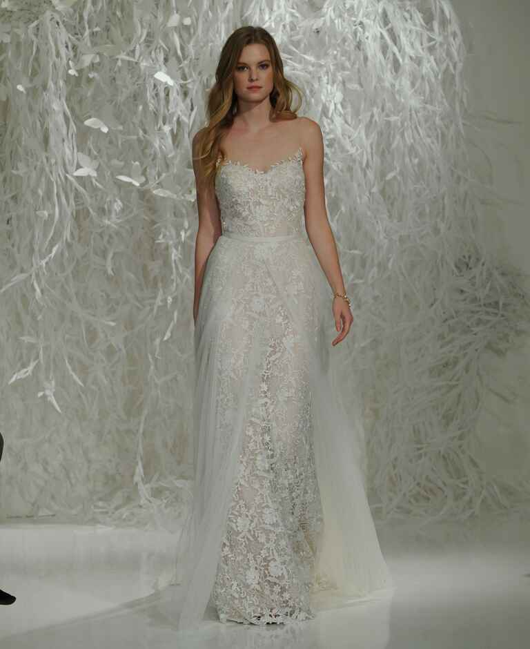 Watters Fall 2016 illusion neckline sheath lace wedding dress with thin tulle overskirt