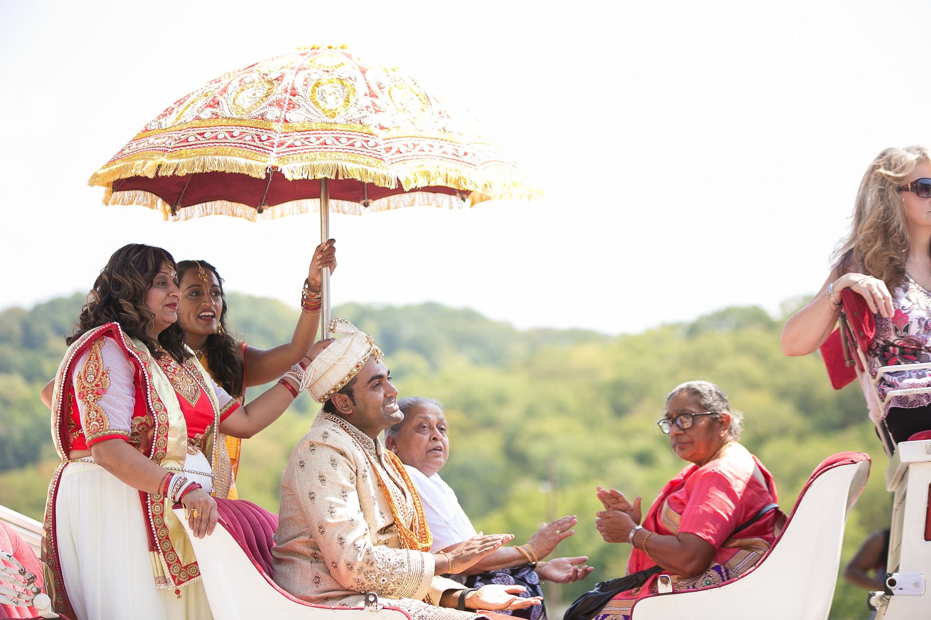 Hindu Wedding Arrival White Horse Drawn Carriage