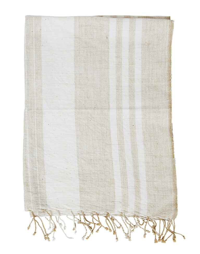 Striped rectangular table linen with fringe