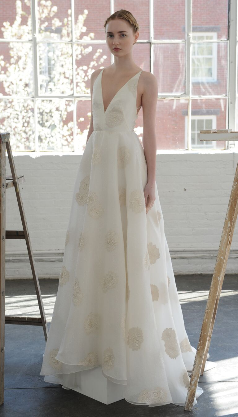Plunging Neckline With Champagne Appliques Wedding Dress From Lela Rose Spring 2017