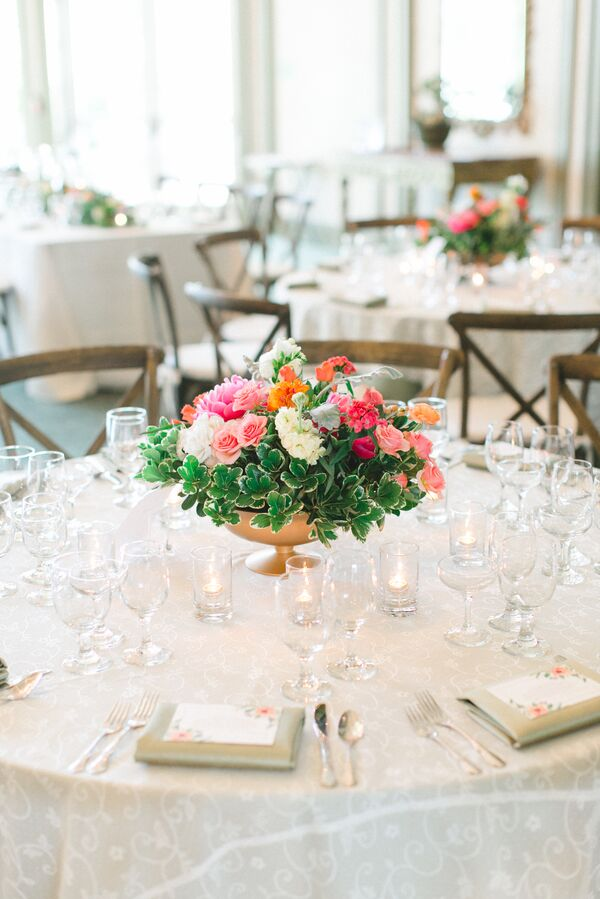 Pink and Green Rose, Freesia Wedding Reception Centerpieces