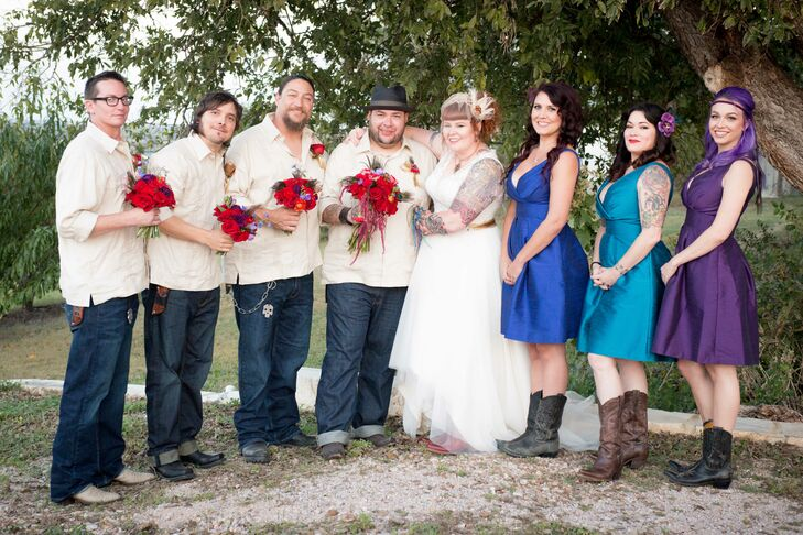 "The bridesmaids wore short dresses in peacock tones and the groomsmen wore guyaberos with jeans. ""Since moving to Texas, I have quite an addition to cowboy boots,"" says Jessi, so the entire wedding party wore them!"