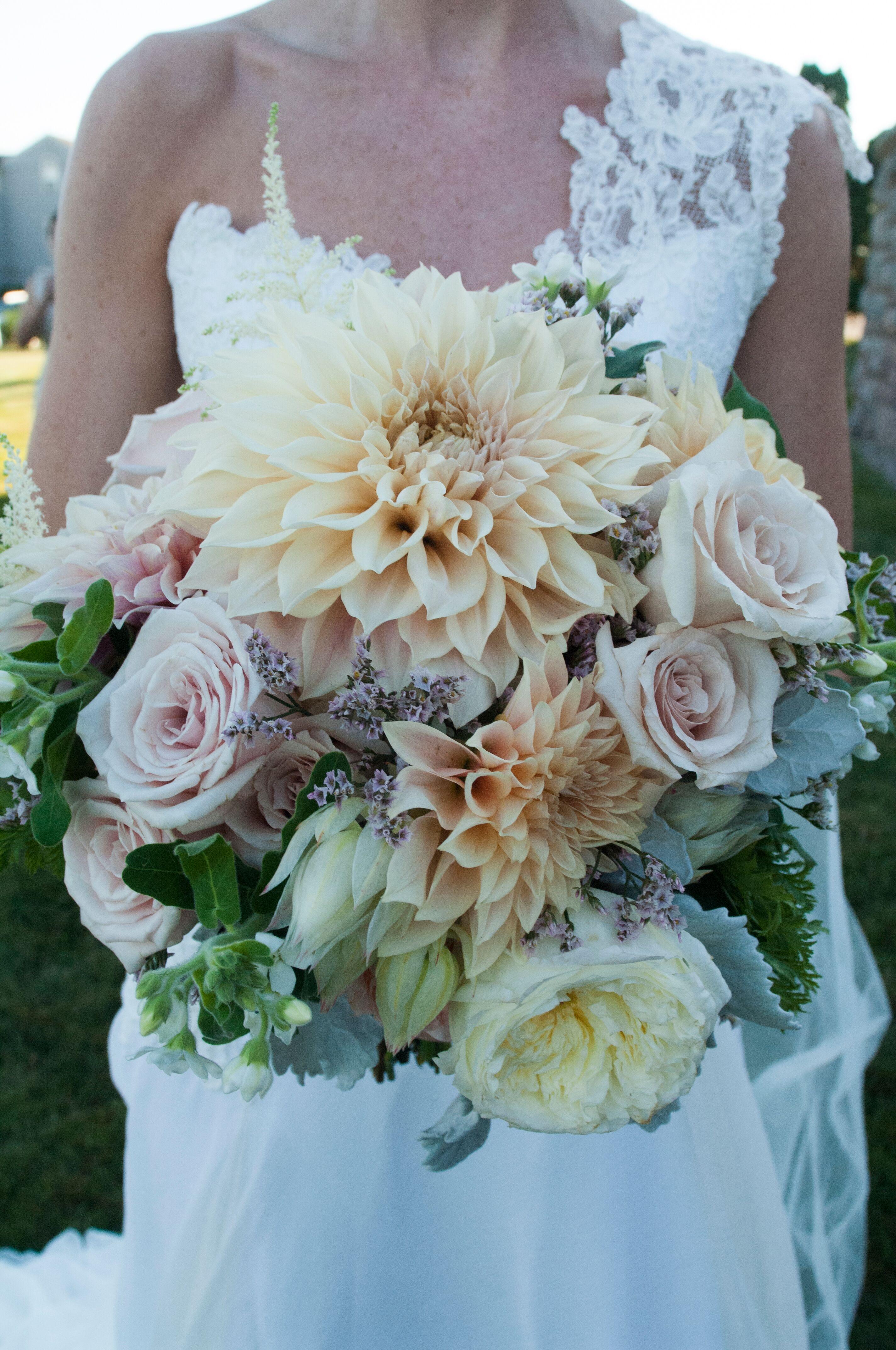 dahlia  rose  and peony bridal bouquet